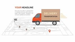Negócio vermelho do transporation da entrega da carga infographic com transporte Fotos de Stock Royalty Free