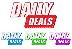 Negócios diários, quatro etiquetas das cores Fotos de Stock Royalty Free