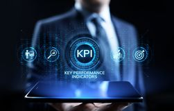 Neg?cio do indicador de desempenho chave de KPI e conceito industrial da an?lise na tela ilustração royalty free