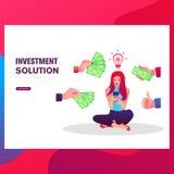 Neg?cio Infographics Ilustra??o lisa do projeto Uma mulher mostra uma ideia da lâmpada, mãos dá-lhe o dinheiro ilustração royalty free