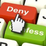 Negación Deny Keys Shows Guilt Or que niega culpabilidad en línea stock de ilustración