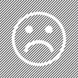 Negatief smileypictogram op zwarte gestreepte achtergrond, overzichtsontwerp Vector vector illustratie