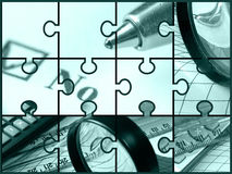 Negation. Pen, magnifier, ruler and calculator, collage (green Royalty Free Stock Photography