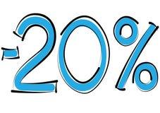 Negativ tjugo procent rabatt på en vit bakgrund Arkivbild