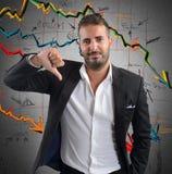 Negativa företagsresultat Arkivfoton