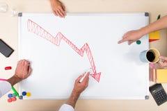 Negative Balance auf whiteboard Stockbild