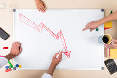 Negative balance on whiteboard Stock Image