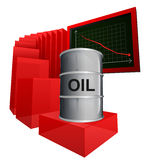 Negative business graph of oil goods vector. Ilustration Stock Image