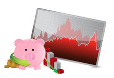 Negative business savings graph Stock Image