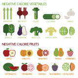 Negative calorie vegetables and fruits. Illustrator Vector Royalty Free Stock Photo