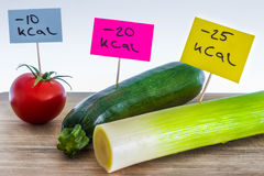 Negative-calories food; leeks, zucchini and tomato Stock Images