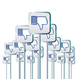 Negative Campaign. Vector illustration of facebook dislike buttons on poles voicing negative opinions or campaign Royalty Free Stock Photos