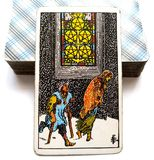 Five of Pentacles Tarot Card  Financial or Material Loss Financial burdens Recession. Negative Change in Circumstances Financial or Material Loss Financial Stock Photos