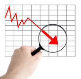 Negative chart. A person analyzes a negative chart. All on white background stock photography