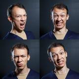 Negative emotions man. Negative emotions young man variety Royalty Free Stock Photo