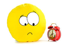 Smile and a red alarm clock Royalty Free Stock Image