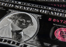 Negative Equity. Negative image of US dollar focused on President Washington stock image