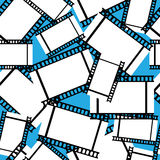 Negative film of seamless pattern. On blue background Royalty Free Stock Image