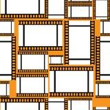 Negative film of seamless pattern. Negative film on orange background seamless pattern Stock Photos