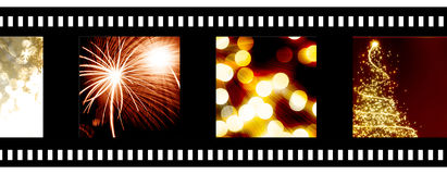 Negative film strip. With holiday images Royalty Free Stock Images