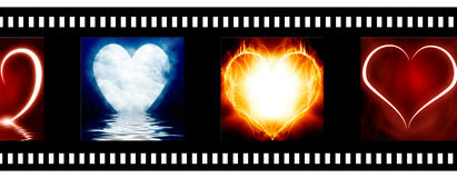 Negative film strip. With heart images Royalty Free Stock Photo