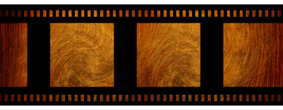 Negative film strip. With wooden texture Stock Photography