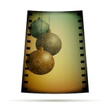 Negative film with xmas balls Royalty Free Stock Photography