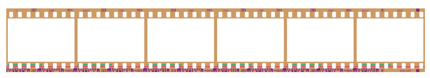 Negative filmstrip frames. 35mm negative frames, with details and accurate dimension. Realistic look Stock Images