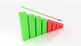 Negative graph 3d illustration. White background Stock Images