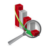 Negative graph loupe with magnifying glass. Illustration design Royalty Free Stock Photography