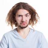 Negative human emotion, man feels unpleasant surprised Stock Image