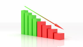 Negative Illustration des Diagramms 3d Lizenzfreies Stockfoto