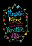 Negative Mind Will Never Give You A Positive Life. Motivational quote Royalty Free Stock Photo