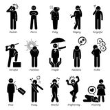 Negative Personalities Character Traits Clipart. Negative personalities traits, attitude, and characteristic. Starting with alphabet F Royalty Free Stock Photos