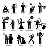 Negative Personalities Character Traits Clipart. Negative personalities traits, attitude, and characteristic. Starting with alphabet V, W, X, Y, and Z Stock Photos