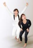 Negative and Positive Body Language. Negative and postive body language of a middle aged woman Stock Photos