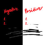 Negative and positive. Check lists. vector positivity concept Stock Photography