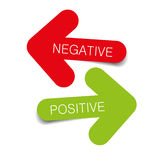 Negative positive illustration arrows. Vector negative and positive color tags Stock Photos