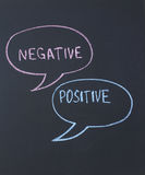 Negative and positive. Inscription in chalk on a blackboard Stock Images