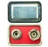 Negative and positive terminal on top side of battery electrode Royalty Free Stock Image