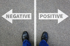 Negative positive thinking good bad thoughts attitude business c. Oncept solution decision decide choice stock image