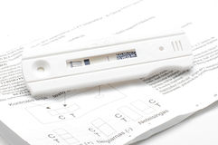Negative pregnancy test and instruction on the white Stock Photo