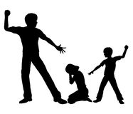 Negative Role Model. Concept sign of an adult person with negative influence on a boy by beating up small girl Royalty Free Stock Image
