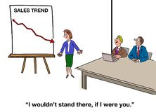 Negative Sales Trend. Business cartoon of a meeting and a chart with a negative sales trend.  Coworker says to presenter, 'I wouldn't stand there, if I were you Royalty Free Stock Image