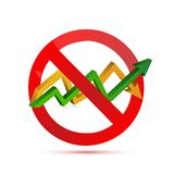 Negative sign over an up and down arrow graph. Isolated illustration design Stock Image
