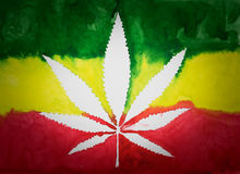 Negative space of cannabis leaf. On  rastafarian flag background,watercolor Royalty Free Stock Photography