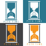 Negative space  illustration  pets and sandglass Royalty Free Stock Image
