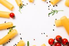 Negative space macaroni food white background. Concept. kitchen creativity. bright colours Stock Photos