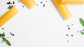 Negative space macaroni food white background. Concept. kitchen creativity. bright colours Stock Image