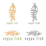 Negative space vector concept of fish skeleton. And carrot Stock Photos